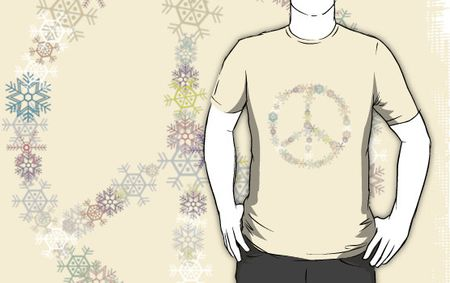 Work.4323721.1.fig,creme,mens,ffffff.peace-sign-christmas-peace-sign-snowflakes-v3
