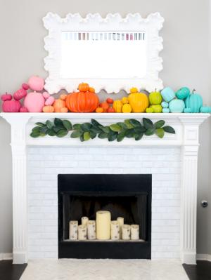 Rainbow Pumpkin Fireplace