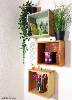 Rustic-DIY-project-recycling-old-drawers-into-shelving-unit-CML