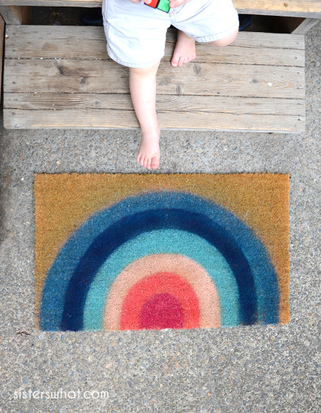 How to spray paint a rainbow doormat